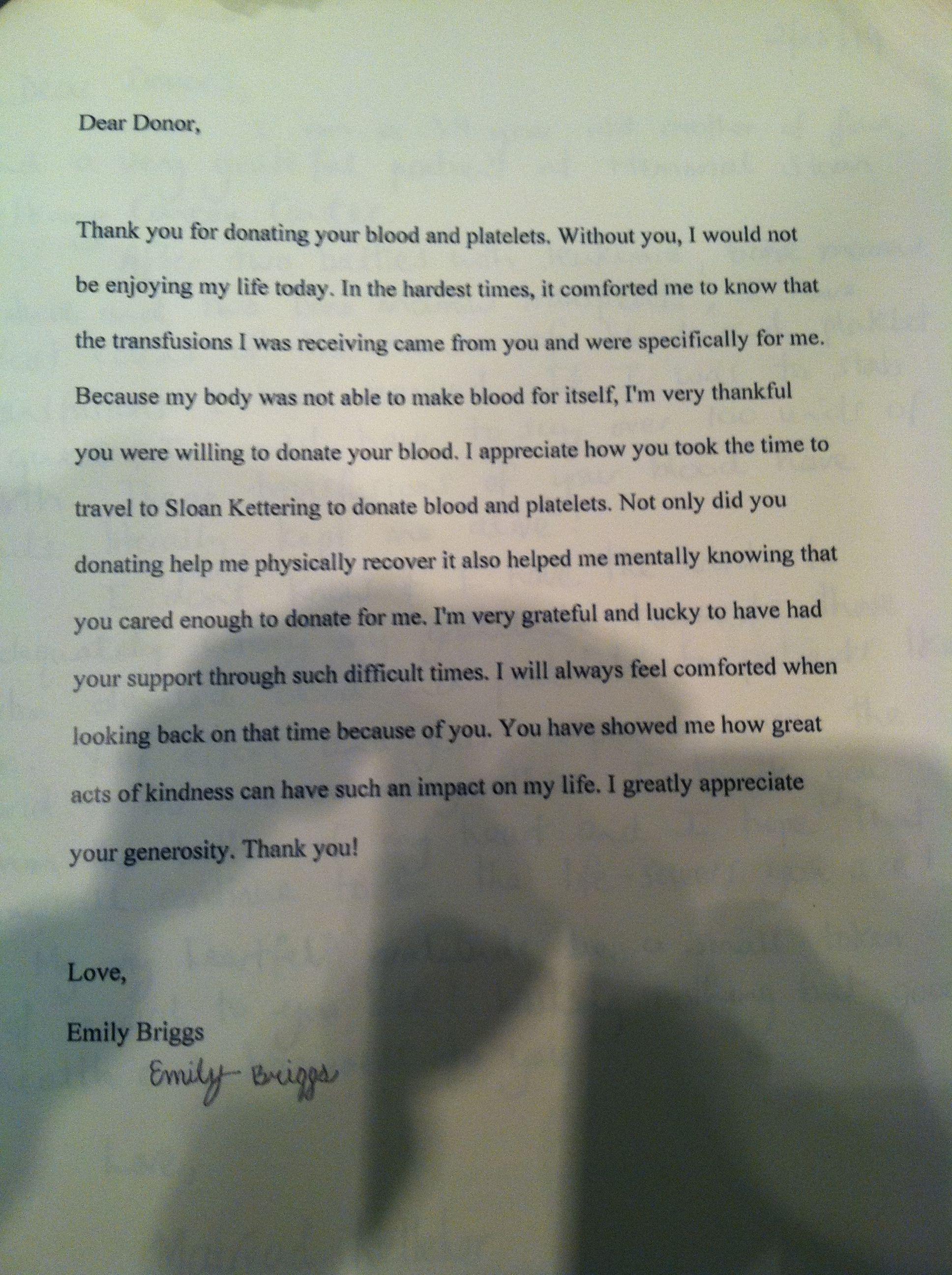 Emily Sloan Kettering Donation Letter  My Kiddies