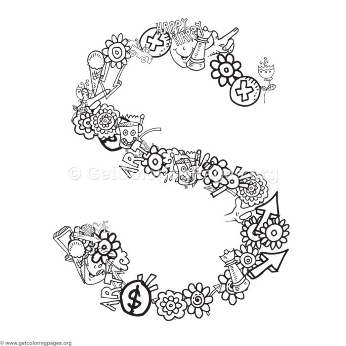 free to download doodle alphabet letter s coloring pages