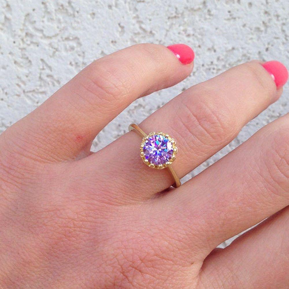Lavender Amethyst Ring - Gemstone Ring - Purple Ring - Wedding ...