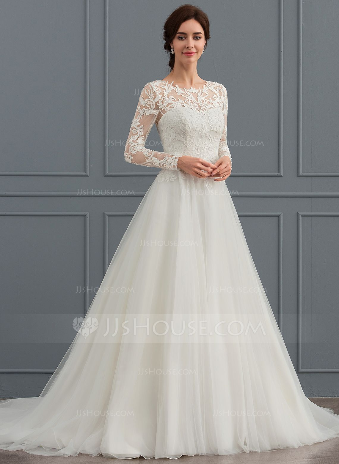 Ball Gown Scoop Neck Sweep Train Tulle Wedding Dress 002127265 Wedding Dresses Jjshouse Wedding Dress Long Sleeve Wedding Dresses Simple Bridal Dresses