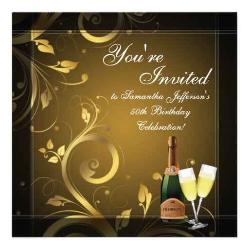 Black Gold Champagne Custom 50th Birthday Party Invitations