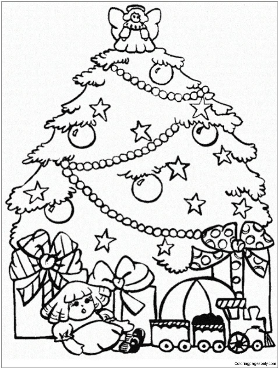 Presents And Christmas Tree Coloring Page