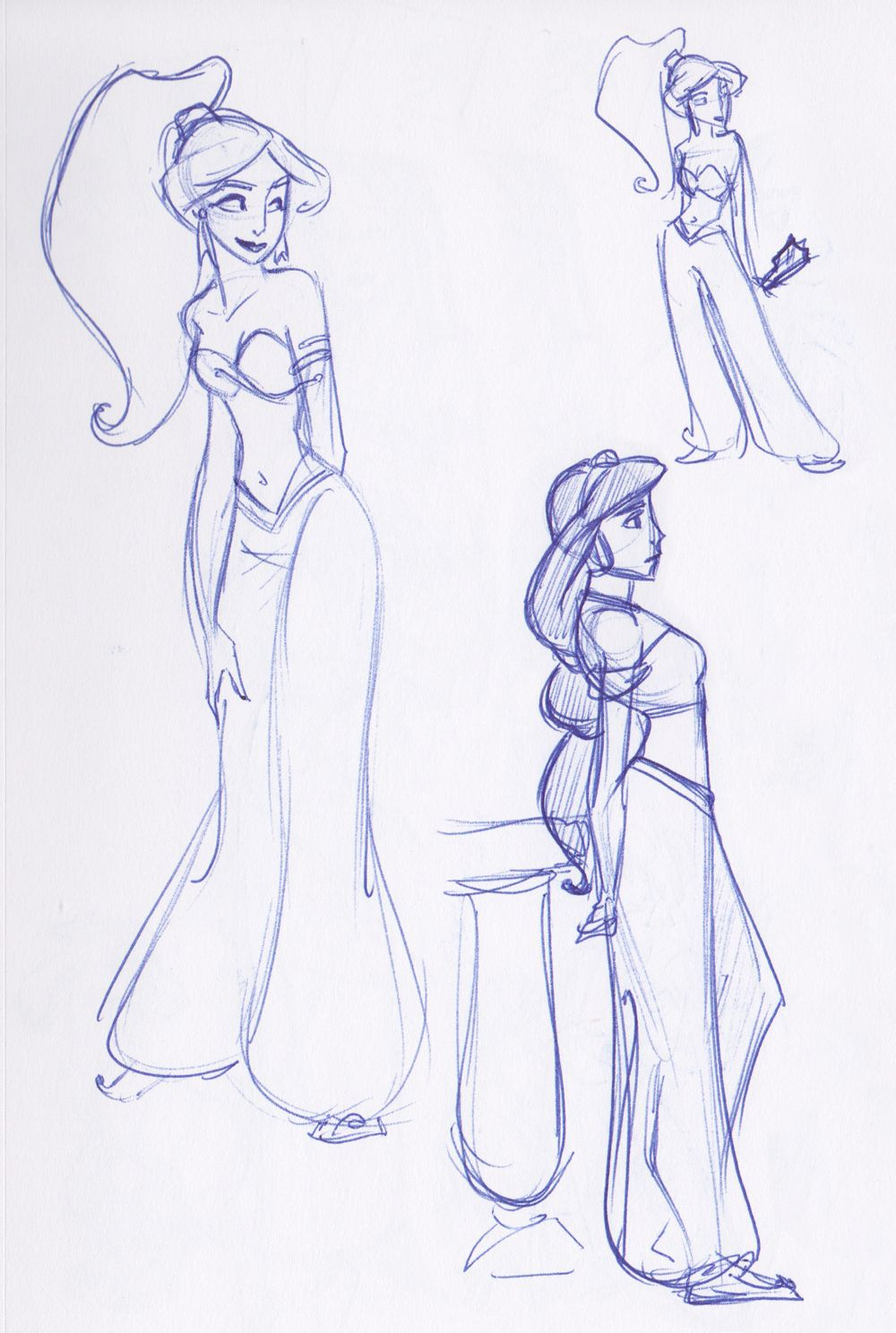 Aladdin princess jasmine disney princess sketches