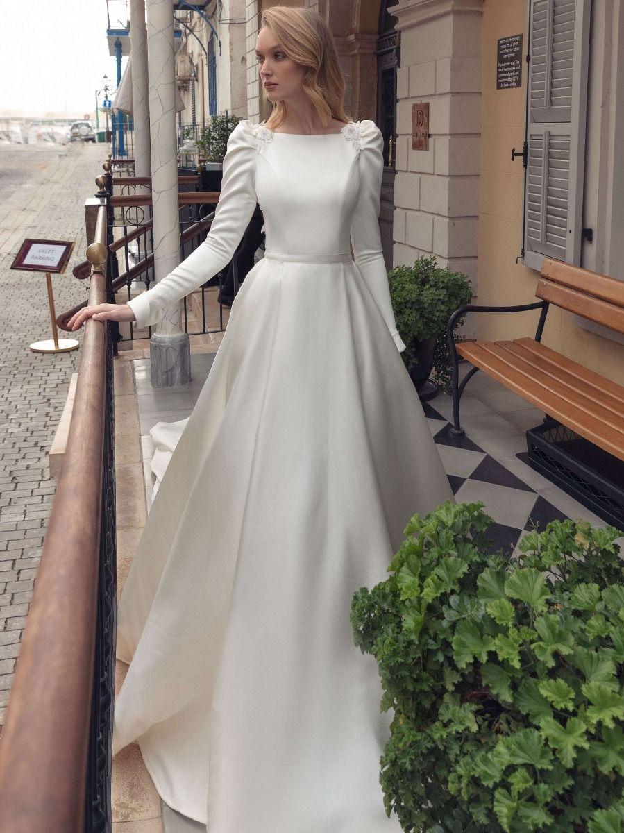 Photo of Bateau Neck Mikado Princess Wedding Dress