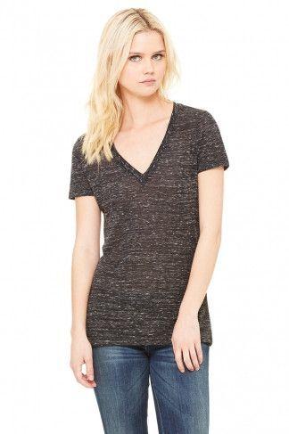 Womans Ladies Womens Fit Plain Cotton Short Sleeve Vee V-Neck Tee T-Shirt Tshirt