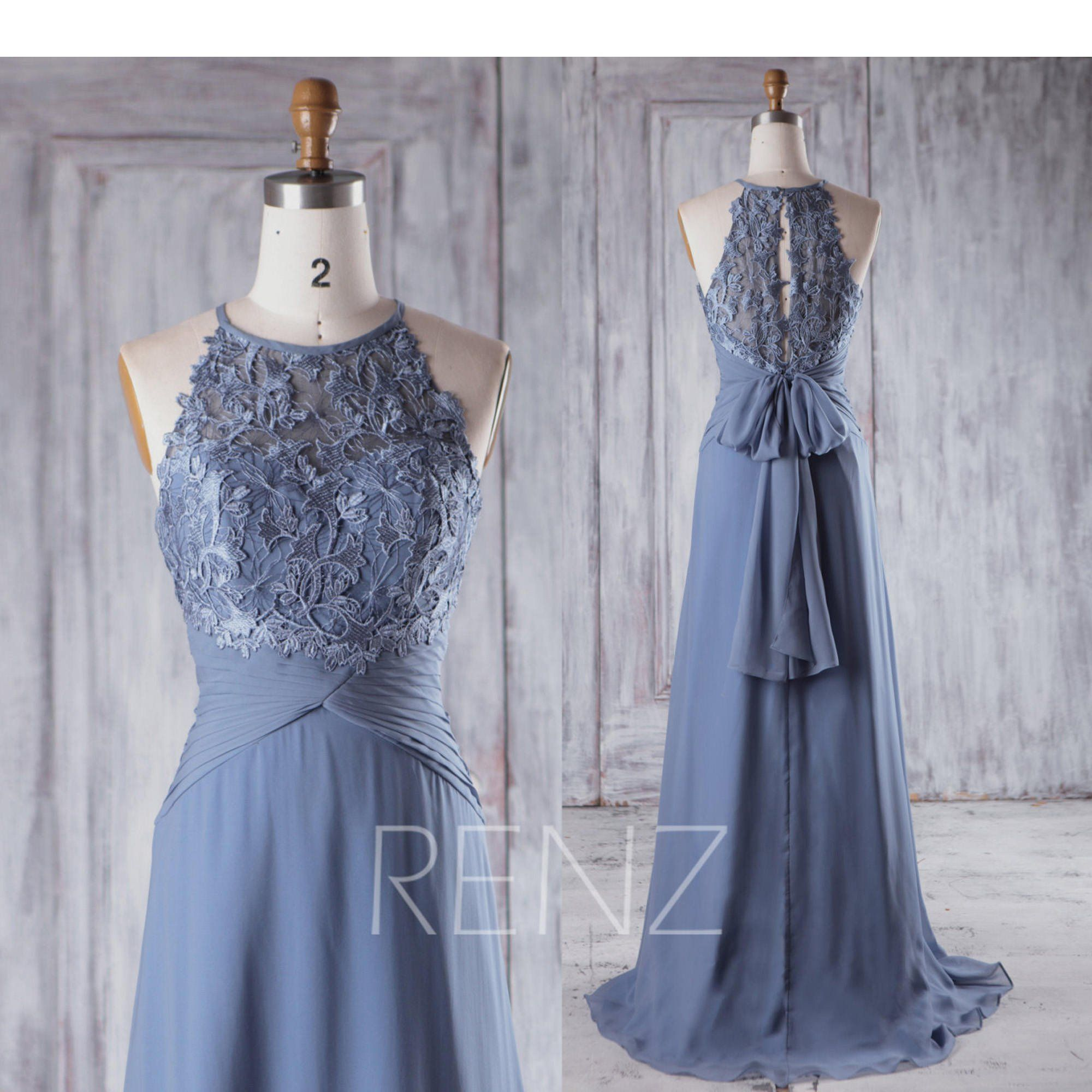 Bridesmaid dress steel blue chiffon maxi dresswedding dresskey