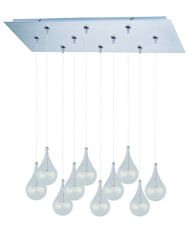 "ET2 E93910 10 Light 32"" Wide Pendant from the Larmes Collection Satin Nickel Indoor Lighting Pendants"