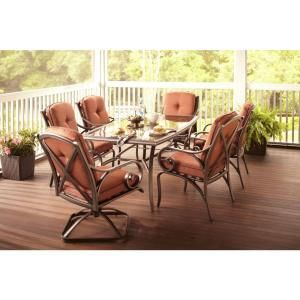 Hampton Bay, Southwicke 7 Piece Glass Top Patio Dining Set With Red  Cushions,