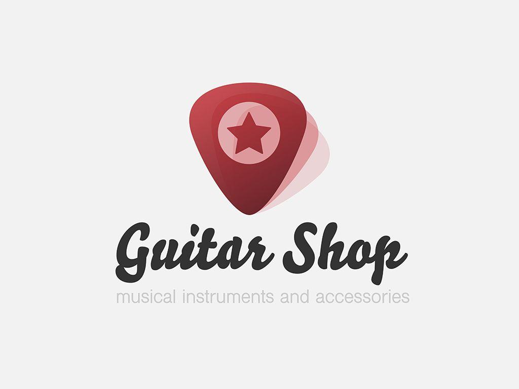 Guitar Shop Logo With Plectrums Red Transparent Shapes Vector Plectrum