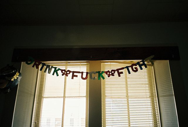 #bunting #letters #jackie #young #film #photograph #drink #fuck #fight