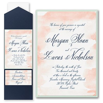 Romantic Watercolor Invitation With Pocket And Backer Discount Wedding Invitations Wedding Invitations Wedding Invitation Prices