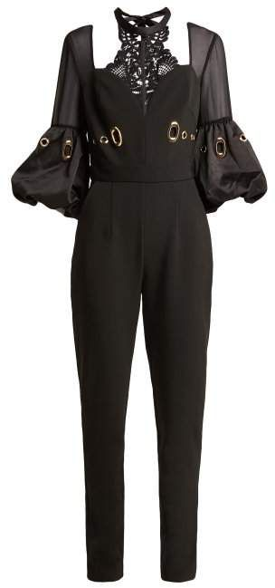 d669bc594a Self-Portrait Balloon Sleeve Lace And Crepe Jumpsuit - Womens - Black