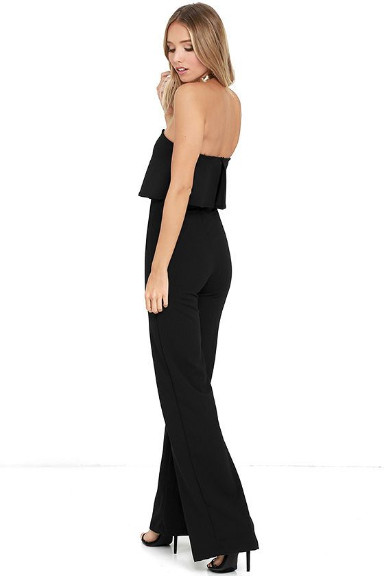 a23f668e2266 You'll be absolutely irresistible when you're wearing the Power of Love  Black Strapless Jumpsuit! Stretch knit shapes a strapless bodice with a  fluttering ...