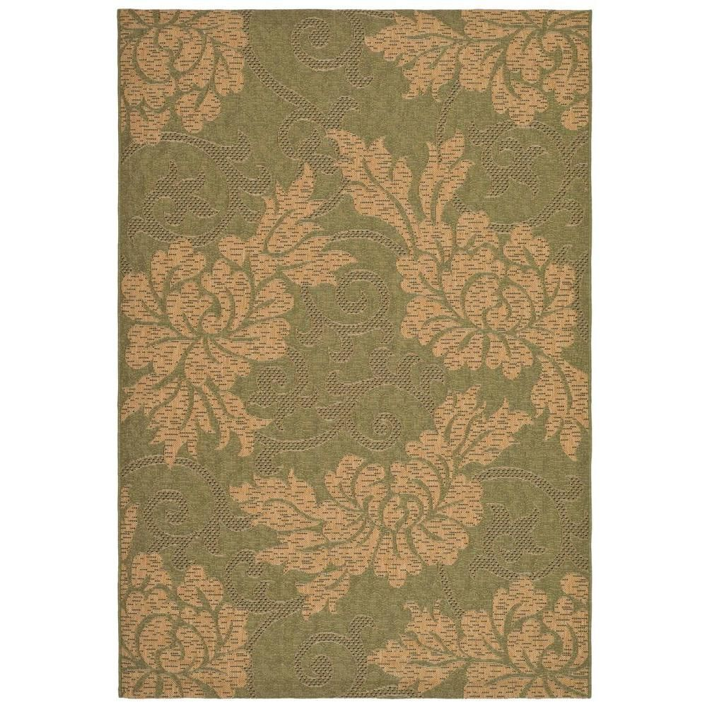 Courtyard Green Natural 5 Ft 3 In X 7 Ft 7 In Indoor Outdoor Area Rug Indoor Outdoor Area Rugs Patio Rugs Natural Area Rugs