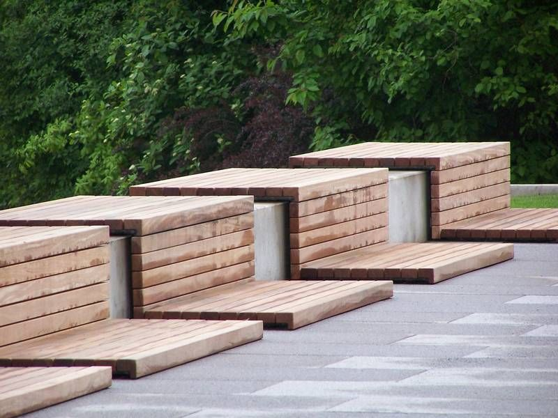 In built timber seating this is really interesting for Landscape timber bench