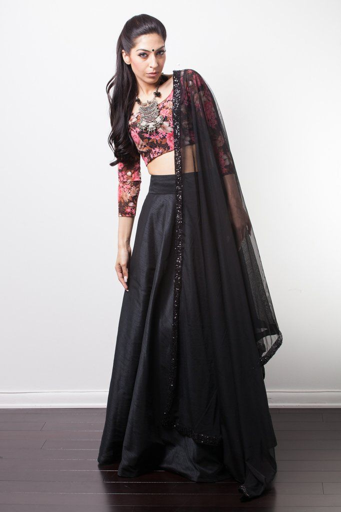abcdad5fb46369 Floral blouse with undertones of brown, red and pink pair with a silk  lengha and black sequin dupatta.*Necklace not included Included in your  purchase: ...