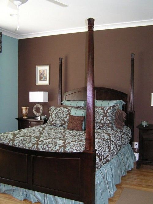 Brown Bedroom Wall With White Ceiling. Design Leans Too