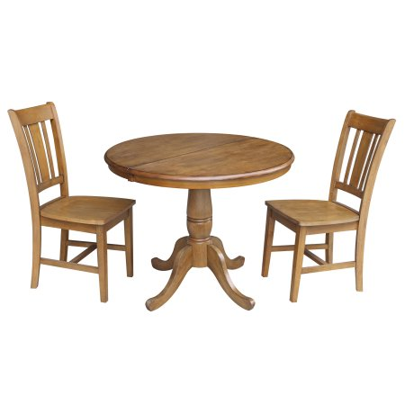 36 Inch Round Dining Table With 12 Leaf And 2 San Remo