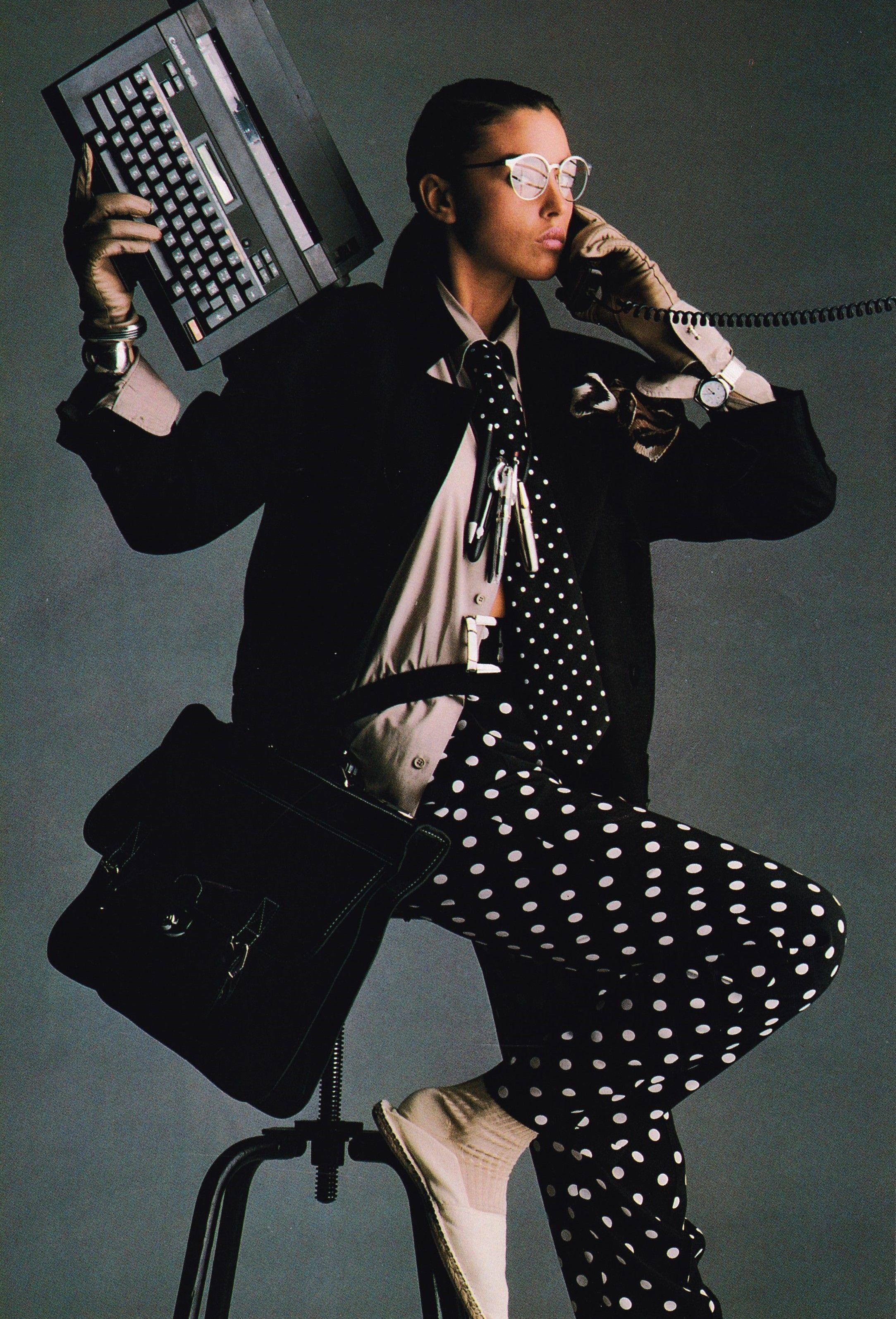 1988 US Elle July  ''Go Dotty''.Photographers- Steven Silverstein & Gilles Bensimon. Model  Monica Bellucci ,