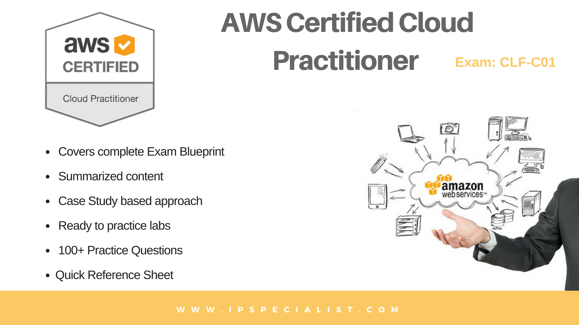 The AWS certified Cloud Practitioner CLF-C01 examination is