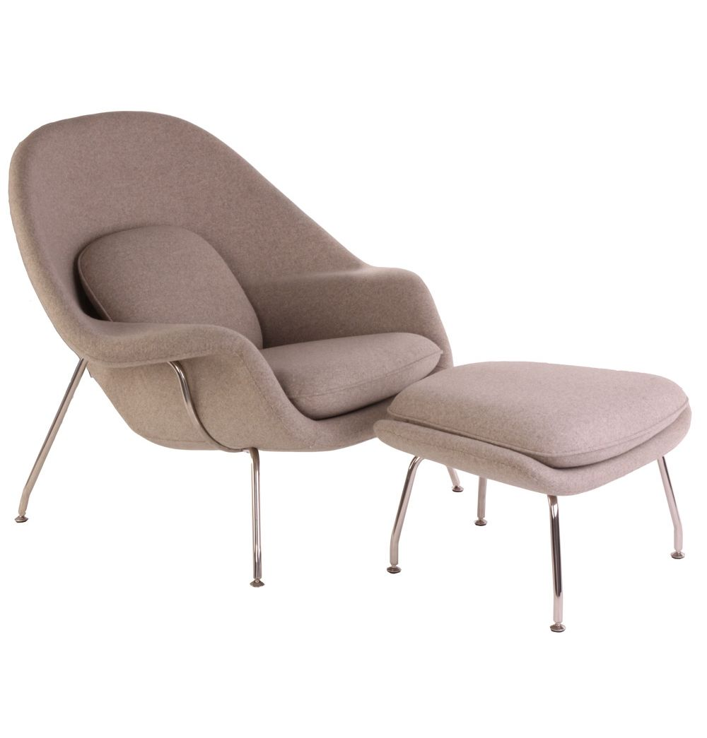 Replica Eero Saarinen Premium Womb Chair And Footstool In Wool By