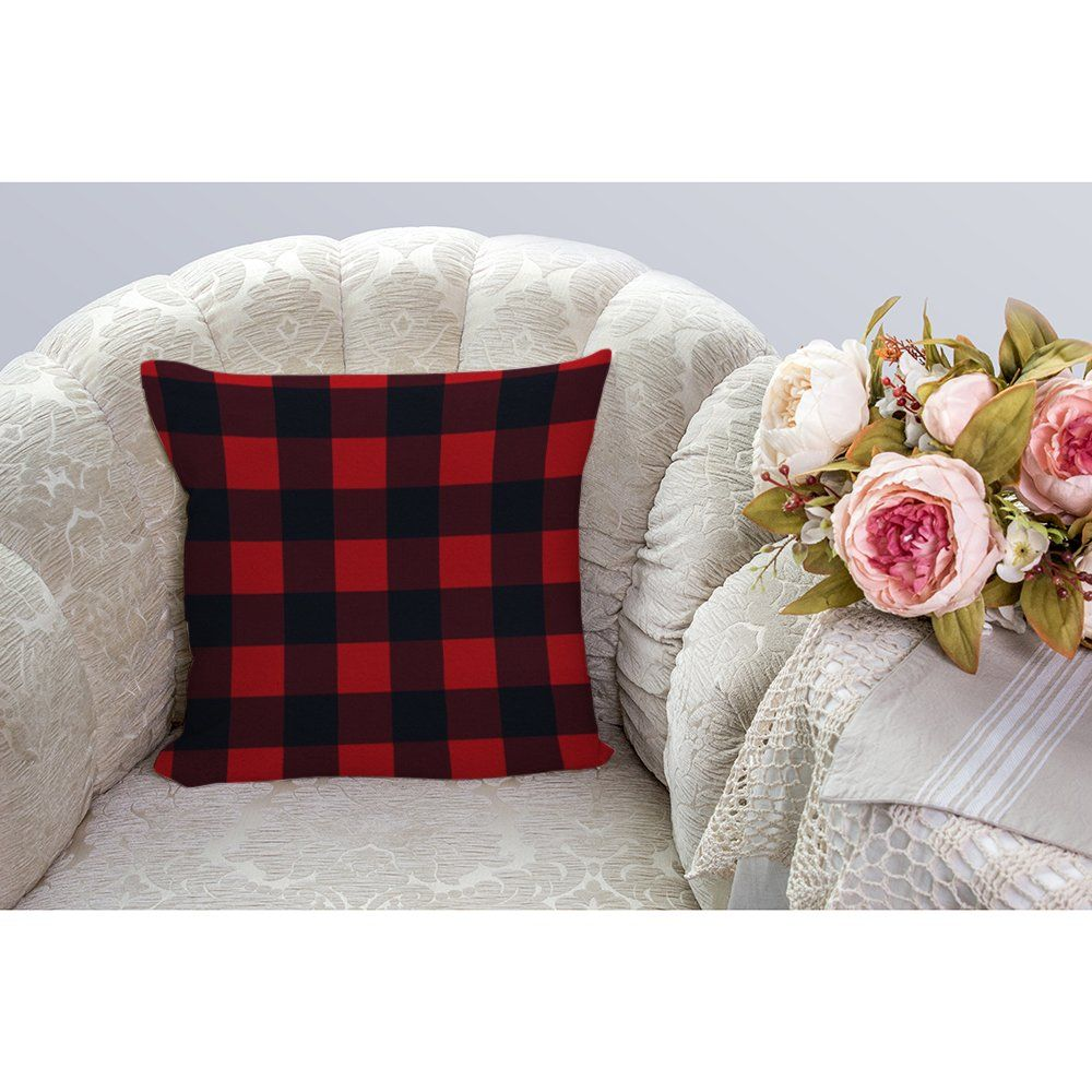 "18/"" x 18/"" Red Cushion with Tartan Check Design Square Sofa Bed Throw Pillow"