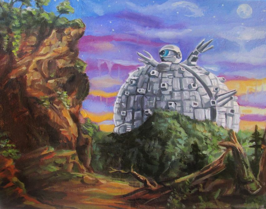 Prints of this work can be found at https://www.etsy.com/listing/454647534/krang-technodrome-from-teenage-mutant?ref=shop_home_active_8. Krang Technodrome from Teenage Mutant Ninja Turtles - Thomas Cole Landscape Parody Painting