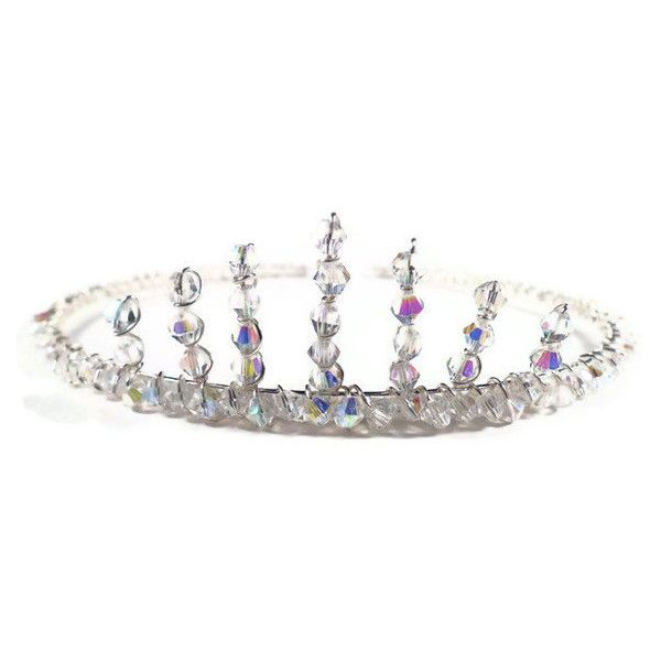 Tiara, Wedding Tiara, Bridal Headpiece, Crystal Silver ($48) ❤ liked on Polyvore featuring accessories, hair accessories, crowns, tiara, medieval, crown tiara, bridal crown, crystal tiaras crowns, silver tiara and bridal tiaras