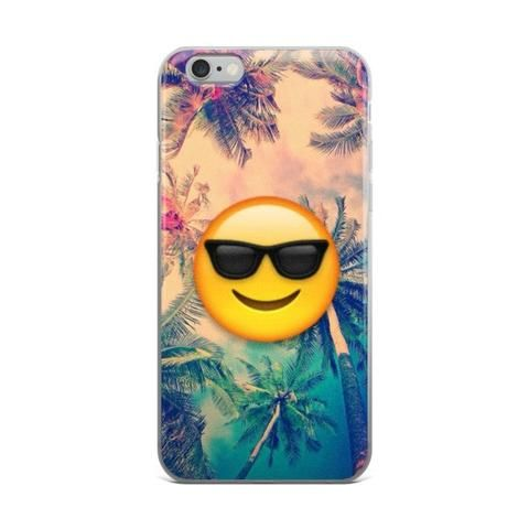 Palm Trees Cool Kids Smiley Face With Black Shades Emoji