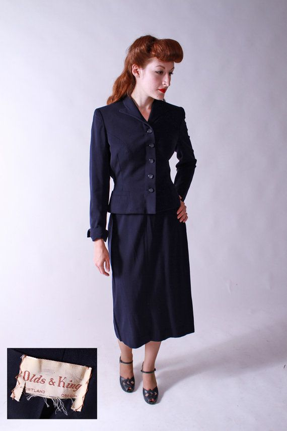 Vintage 1950s Suit  Tailored Suit in Navy Gabardine by by FabGabs, $124.00