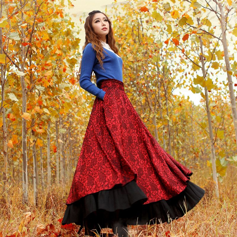 red-winter-maxi-skirt | Things to Wear | Pinterest | Winter maxi ...