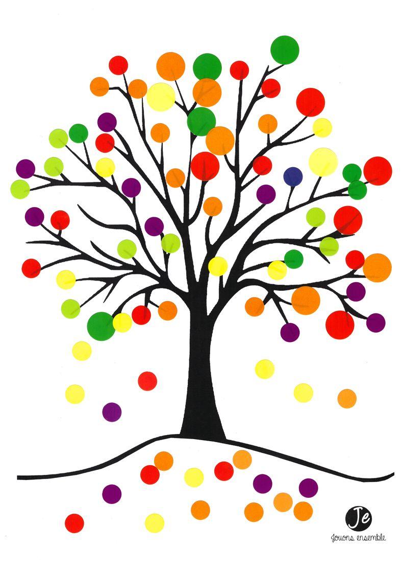 Arbre d 39 automne en gommettes activit s cr atives arbre automne - Coloriage arbre d automne ...
