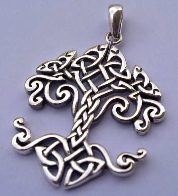 New Solid Sterling Silver 925  Celtic Tree of Life Pendant with Celtic Knotwork