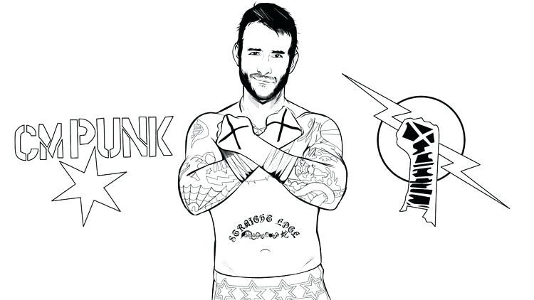 Cm Punk Drawing Coloring Pages Cm Punk Style Wwe Cm Punk Drawing