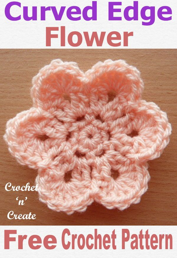 Curved Edge Flower Free Crochet Pattern #crochetflowers