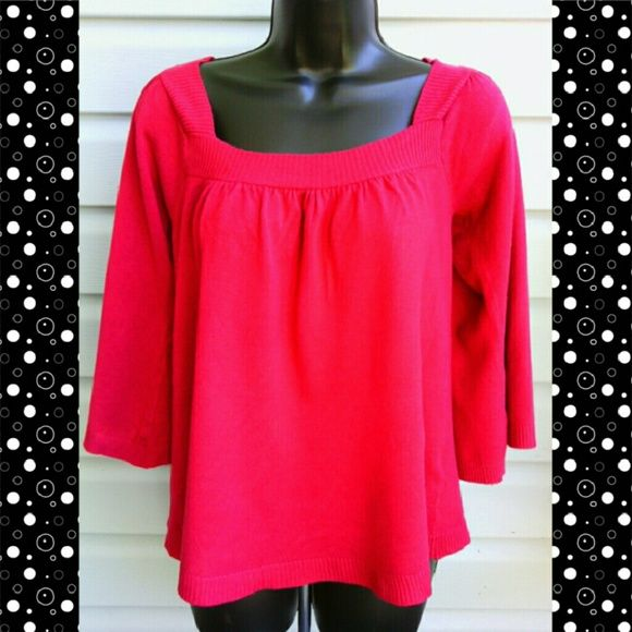 AGB TOP Fuchsia Color Quarter Sleeves  Sweater Top...80% Viscose/20% Nylon AGB Sweaters Crew & Scoop Necks