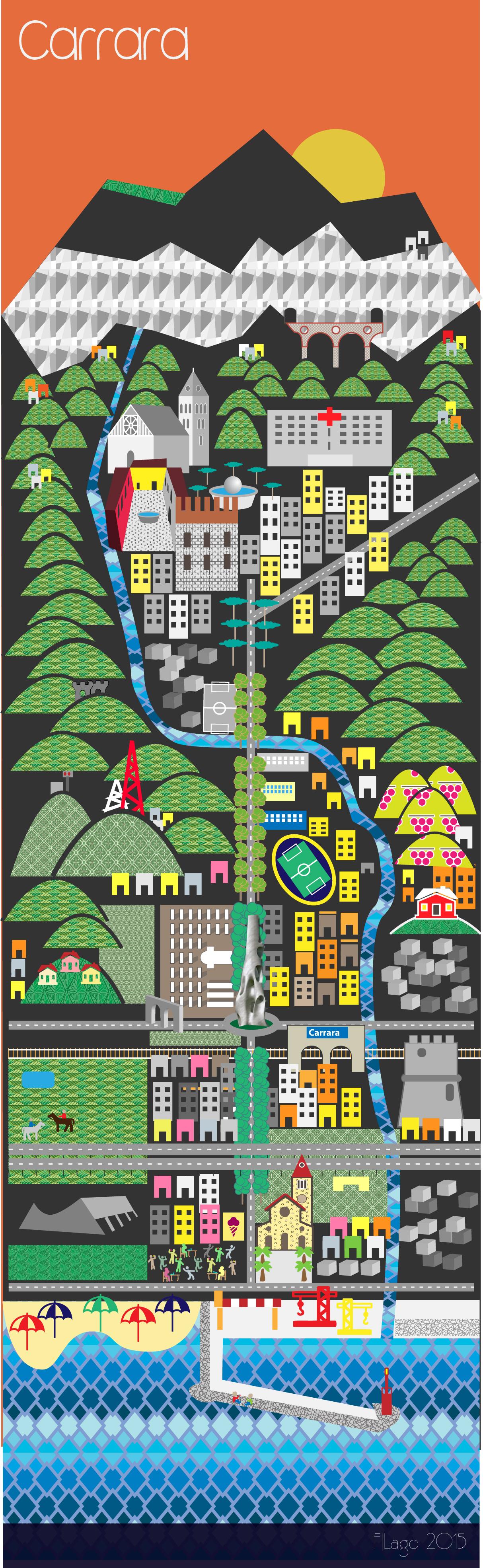 Mappa di carrara, map illustrator