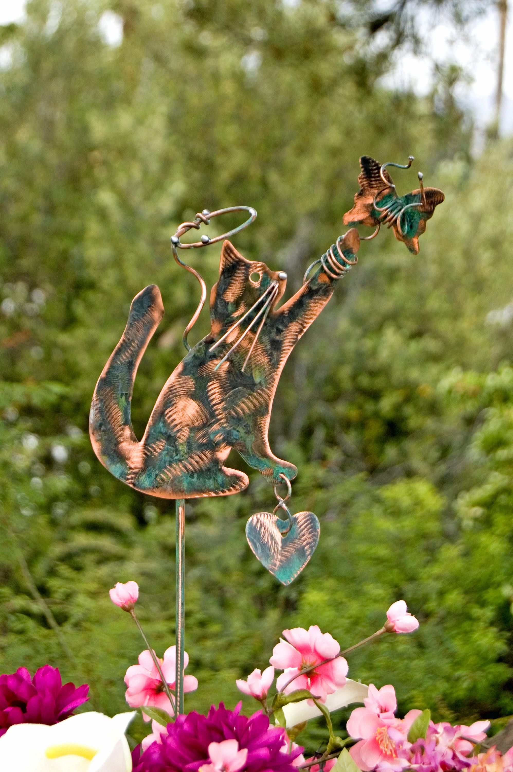 Cat Angel Pet Memorial Garden Stake / Outdoor Metal Garden Art / Copper Art  / Metal Garden Animal Sculpture / Cat Metal Memorial Sign