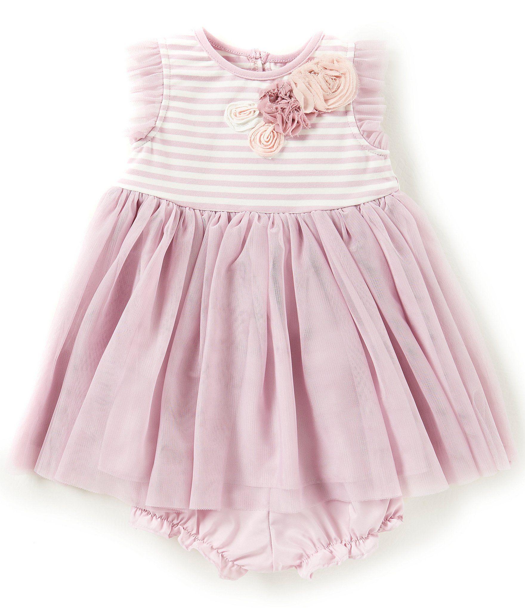 Marmellata Baby Girls 12 24 Months Striped Floral Applique Dress