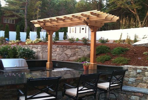 Outdoor Kitchen Pergola This Small And Economical Structure Was Designed To Visually Frame The Outdoor Kitchen While Pergola Outdoor Pergola Backyard Pergola