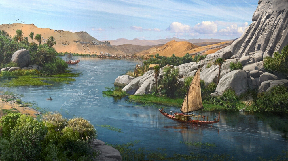 Nile Fantasy Landscape River Ship Wallpaper Fantasy Landscape Fantasy Art Landscapes River Art