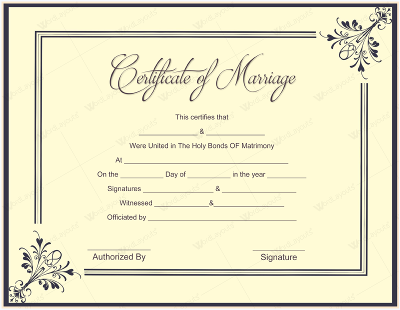 Ms Office Marriage Certificate Template Microsoft Office Samples