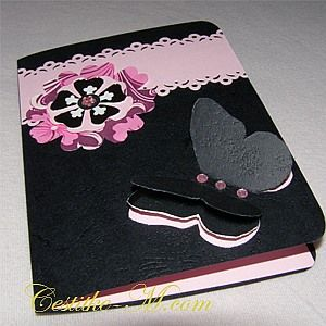 valentine handmade card - Black butterfly. for those that like it black.... :)