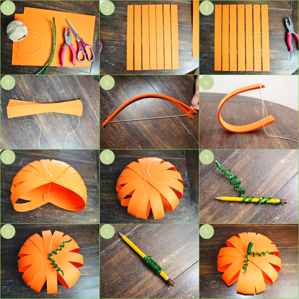 Etapes diy citrouille papier bricolage pinterest - Faire deco halloween ...