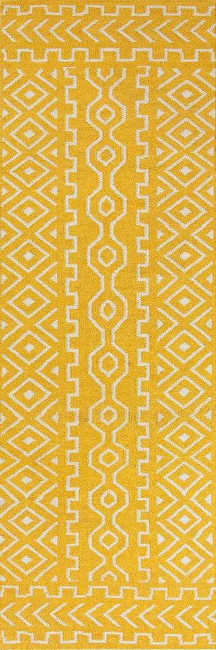 Jaipur UB19 Flat-Weave Tribal Pattern Wool Yellow/Ivory Area Rug ...