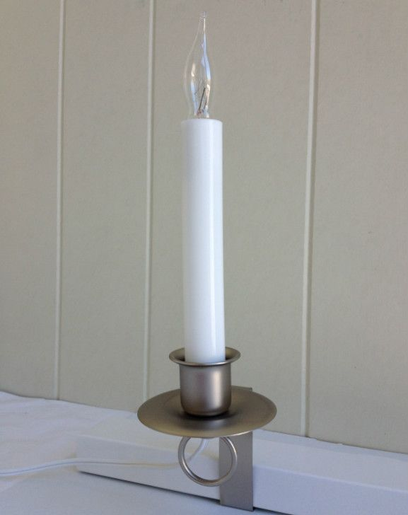 Features Locking Non Tip Sill Bracket Holds Candle In Window No Sill Required Base Finish Pewter Candle Slee