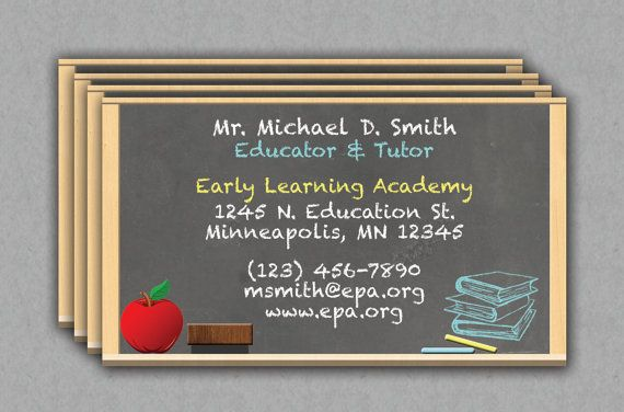 Printable And Editable Microsoft Word Teacher Or Educator Business Card Template.