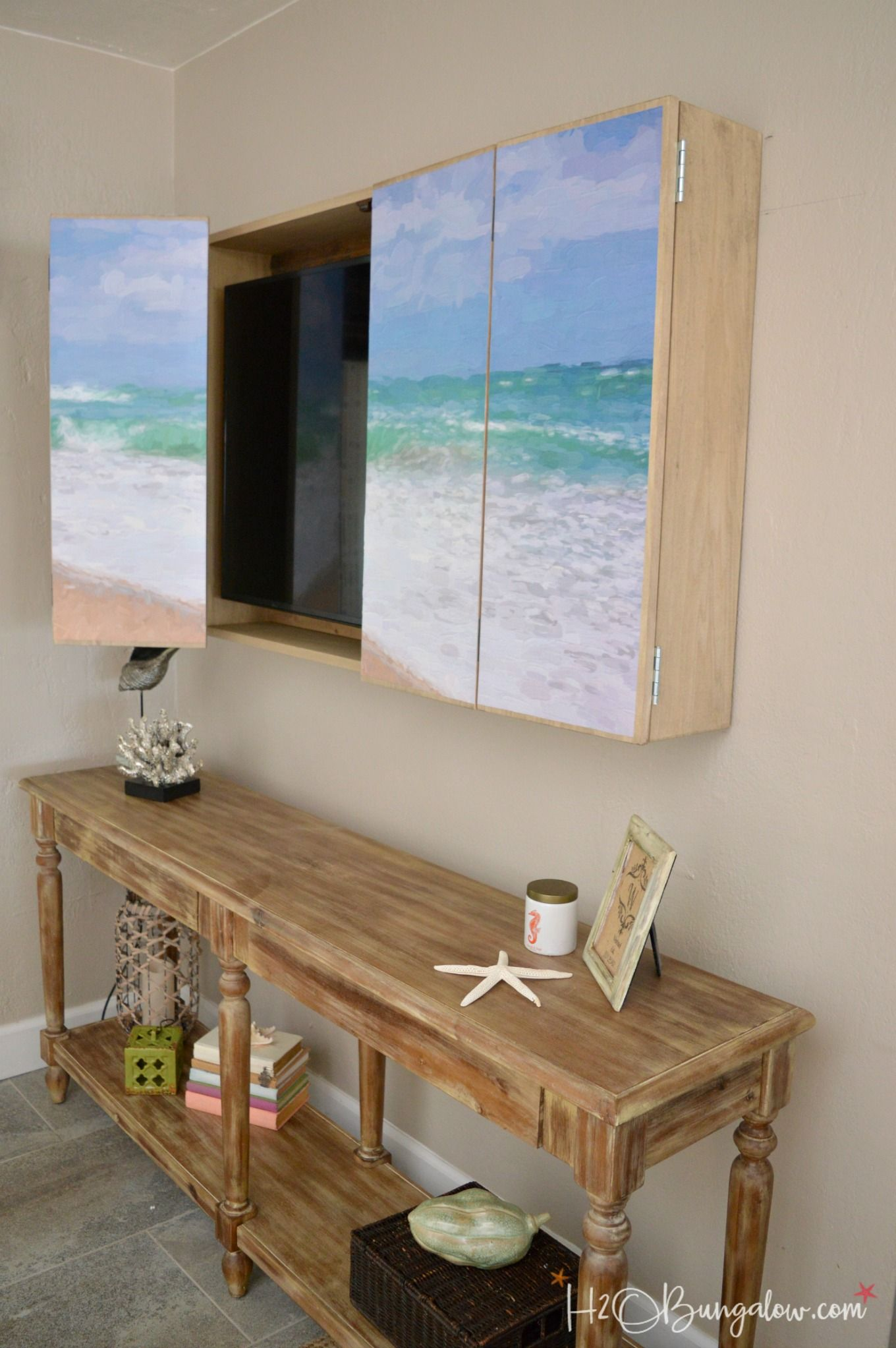 hide tv furniture. Free Plans For A DIY Wall Mounted Tv Cabinet. Build Cabinet To Hide The Flat Screen TV Behind Art In Your Home. Simple Instructions Hidden Furniture 1