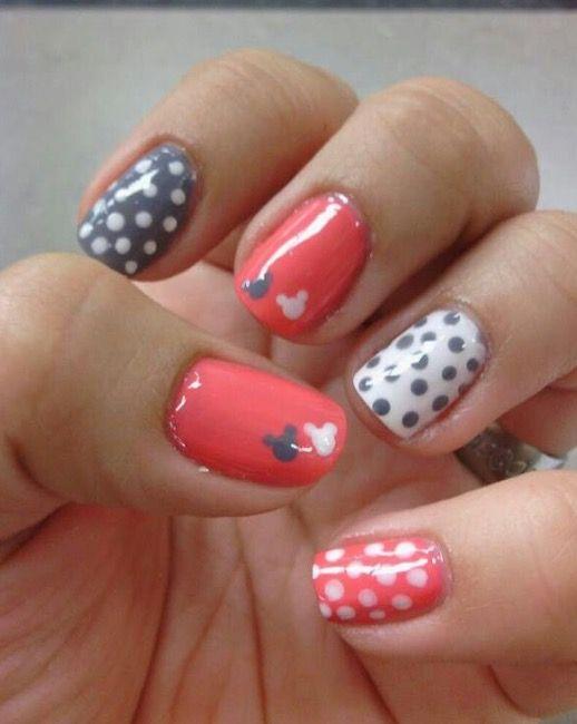 Simple Mickey Nail Art Disney Nails Simple Nails Simple Nail Designs