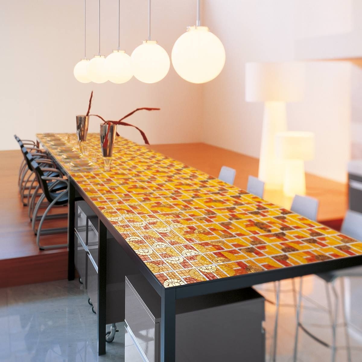 Exterior Home Designideas: A Table Realized With Orange Tesserae: The Unexpected Idea